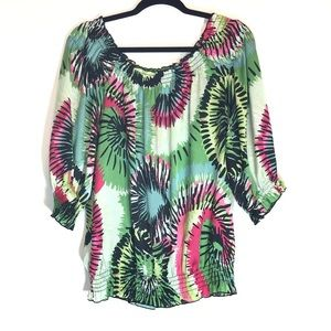 TRIBAL Peasant Silky Soft Flowy Floral Top Large